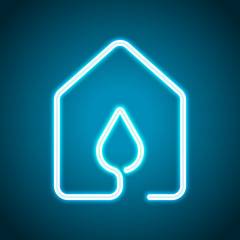 house with water drop icon. line style. Neon style. Light decoration icon. Bright electric symbol