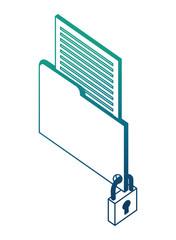 folder data document info isometric design vector illustration blue neon