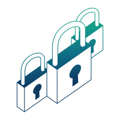 cyber security padlock protection isometric design vector illustration blue neon