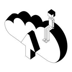 male avatar sitting on cloud computing isometric vector illustration monochrome