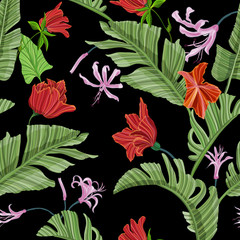 Floral seamless pattern with tropical flowers. Vector motifs for fabric print and embroidery.