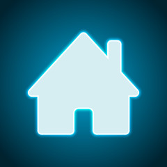 house icon. Neon style. Light decoration icon. Bright electric s