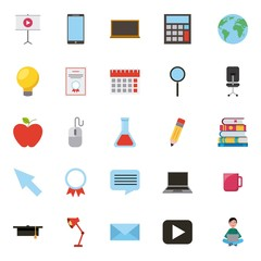 learning online education set icons pattern vector illustration