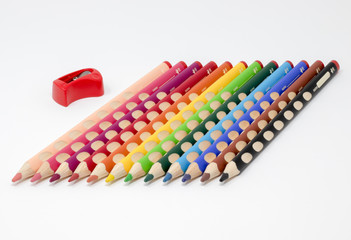 Colored pencils with sharpener