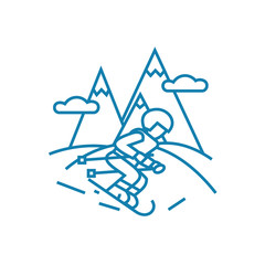 Skiing line icon, vector illustration. Skiing linear concept sign.