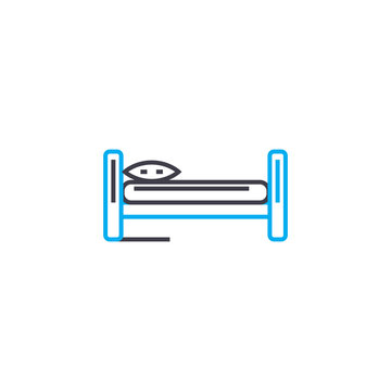 Single bed line icon, vector illustration. Single bed linear concept sign.
