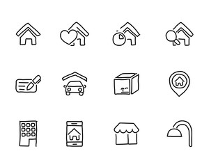 real estate icon design illustration,hand drawn style design, designed for web and app