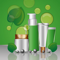organic cosmetic packaging skincare herbal collection vector illustration