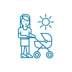 Walking with mom line icon, vector illustration. Walking with mom linear concept sign.