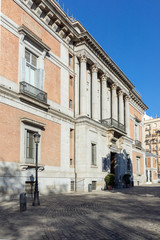 Facade of Museum of the Prado in City of Madrid, Spain