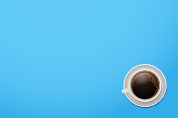 Top view of a coffee mug. Vector cup of coffee on a vivid blue desktop background with copyspace.