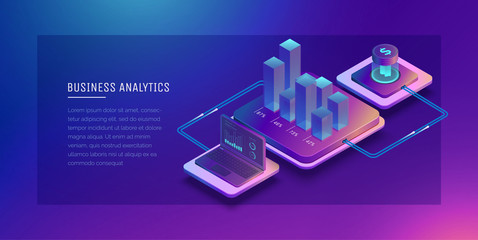 Digital technologies in business. Digital system analysis of business. Business growth graph. Online wallet. Electronic payment systems. Digital money transfers.Conceptual Isometric illustration.