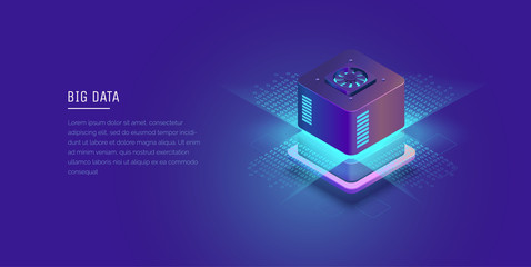 Server. Digital space. Data storage. Data center. Big Date. Conceptual illustration, data flow. Isometric vector illustration. 3D