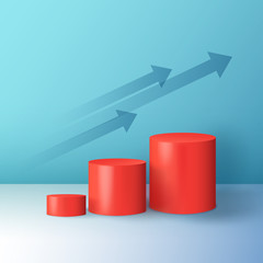 Minimal abstract colorful cylinder shape, wall scene. Platform, podium to advertise various objects, arrows as a symbol of sales growth and success. Vector