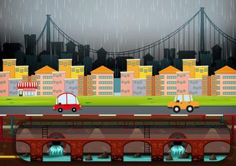 A Big Modern City Raining