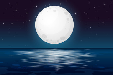 Printed kitchen splashbacks Kids A Full Moon Night at the Ocean