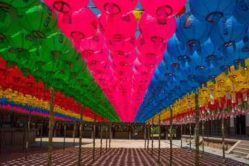 Hundreds of lanterns hanging out of the Buddhist temple in South Korea