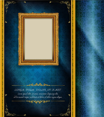Wall Mural - Decorative vintage frames and borders set,Gold photo frame with corner Thailand line floral for picture
