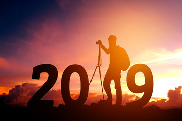 Silhouette young photography Happy for 2019 new year