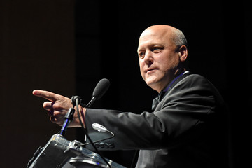 New Orleans Mayor Mitch Landrieu addresses the audience after receiving the 2018 John F. Kennedy Profile in Courage Award at the John F. Kennedy Presidential Library in Boston