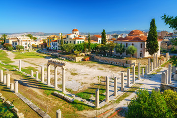 Roman Agora and Byzantine church in Athens, Greece