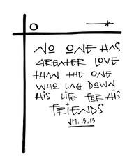 Religious Christian phrase ink illustration