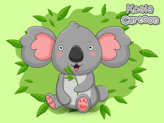 Cute Cartoon Koala Characters. Vector Illustration Cartoon Style.