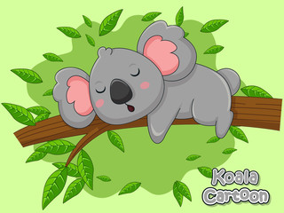 Cute Cartoon Koala Characters. Vector Illustration Cartoon Style.