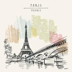 Eiffel Tower in Paris, France. Vintage hand drawn touristic postcard