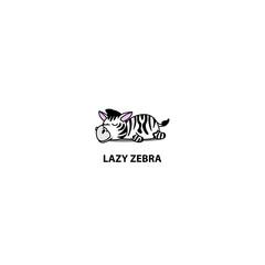 Lazy zebra sleeping icon, logo design, vector illustration