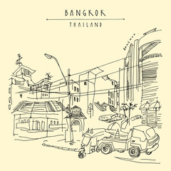 Bangkok, Thailand. Khaosan touristic area. Travel sketch. Hand drawn vintage travel postcard or poster, book illustration