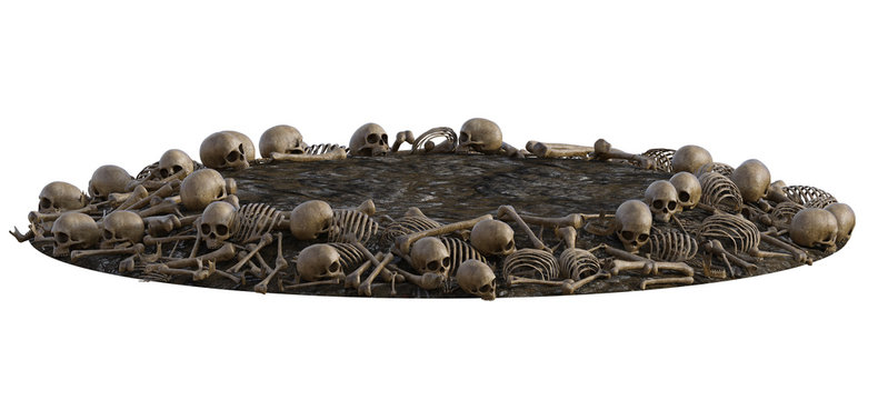 Pile of old human bones on ground isolated on white, 3d render