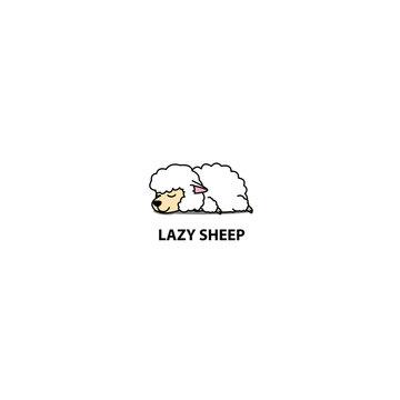 Lazy sheep sleeping icon, logo design, vector illustration