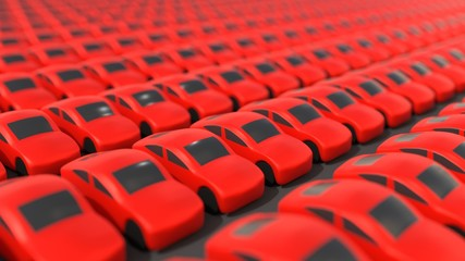 Many identical red cars in lot 3D illustration
