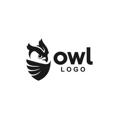 Owl Logo icon animal shield wing creative