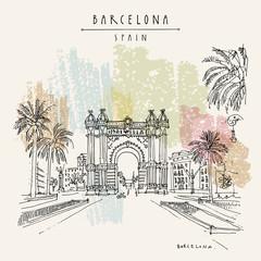 Barcelona, Catalonia, Spain. Arc de Triomf (Triumphal Arch). Hand drawn vintage touristic postcard