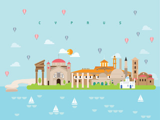 Cyprus Famous Landmarks Infographic Templates for Traveling Minimal Style and Icon, Symbol Set Vector Illustration Can be use for Poster Travel book, Postcard, Billboard.