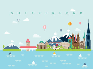 Wall Murals Light blue Switzerland Famous Landmarks Infographic Templates for Traveling Minimal Style and Icon, Symbol Set Vector Illustration Can be use for Poster Travel book, Postcard, Billboard