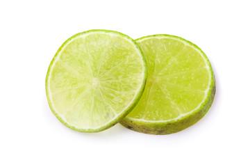 Lime Slice Fresh fruit isolated on white background.