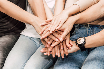 Successful of group of friends stack of hands together.Friendship teamwork concept