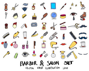 Hand drawn Sketch doodle vector line Barber colour icon set on white eps10