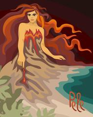 Hawaiian goddess of volcano Pele. Retro Vector illustration