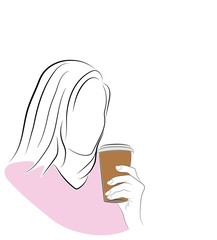 silhouette of woman with coffee to go. vector illustration.