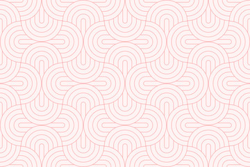 Backgrounds pattern seamless geometric sweet pink circle abstract and line vector design. Pastel color background.