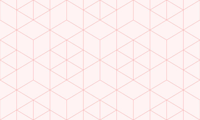 Backgrounds pattern seamless geometric sweet pink hexagon abstract and line vector design. Pastel color background.