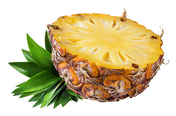 Wall Mural - Fresh pineapple isolated on white background