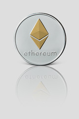 Ethereum coin isolated on glossy white background