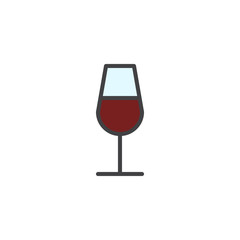 Red Wine glass filled outline icon, line vector sign, linear colorful pictogram isolated on white. Drink glass symbol, logo illustration. Pixel perfect vector graphics