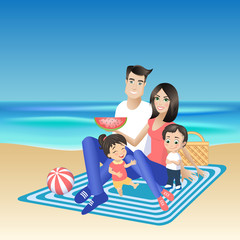 Happy family on a picnic. Father, mother, son and daughter are resting on the beach. Vector illustration with cartoon young people characters on vacation.