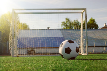 Football on a green field
